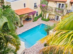 Arial view of pool courtyard
